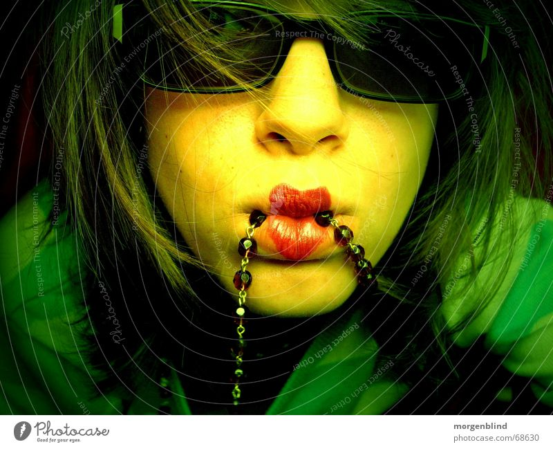 Woman Green Summer Yellow Style Moody Fashion Heart Lips Chain Snapshot Sunglasses Eyeglasses Portrait photograph