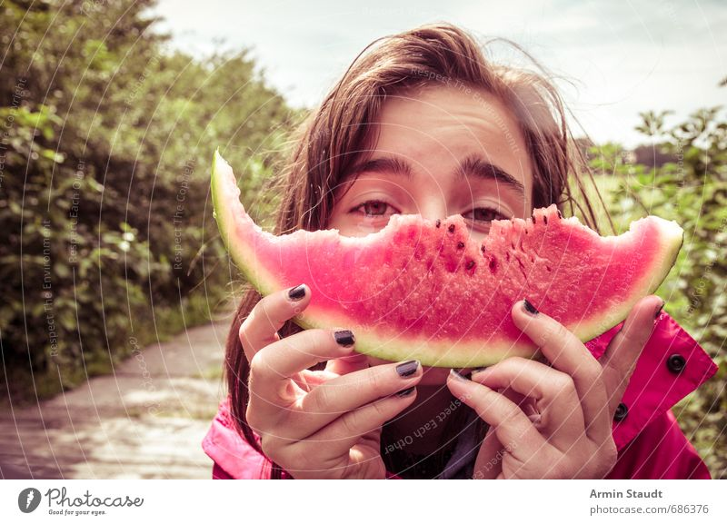 adored melon Water melon Fruit Eating Picnic Healthy Eating Vacation & Travel Human being Feminine Youth (Young adults) 1 13 - 18 years Child Nature Park Street