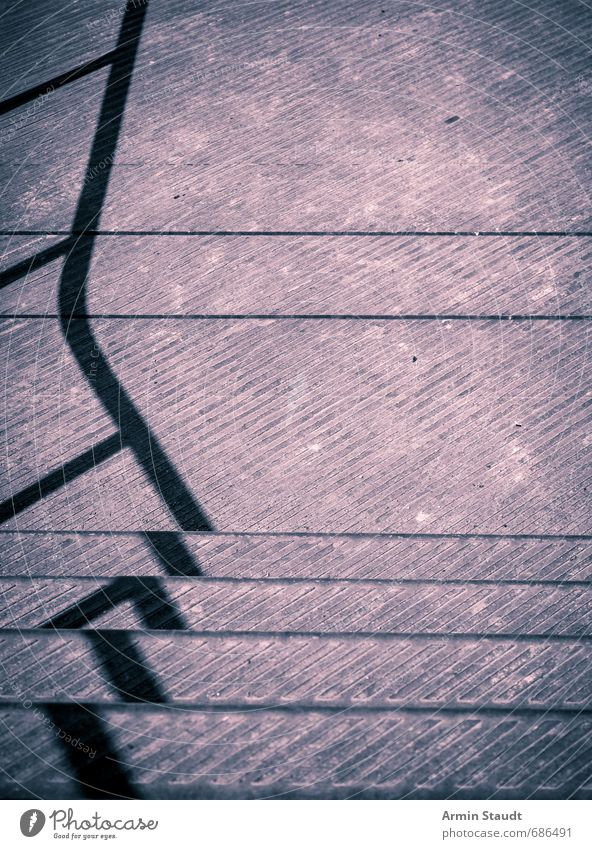 Railing shadow cast on metal staircase Stairs Old Esthetic Dirty Simple Gloomy Violet Moody Dream Design Apocalyptic sentiment Colour Accuracy Modern Town