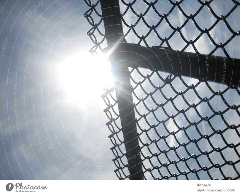 Sky White Sun Blue Letters (alphabet) Border Fence Wire Wire netting