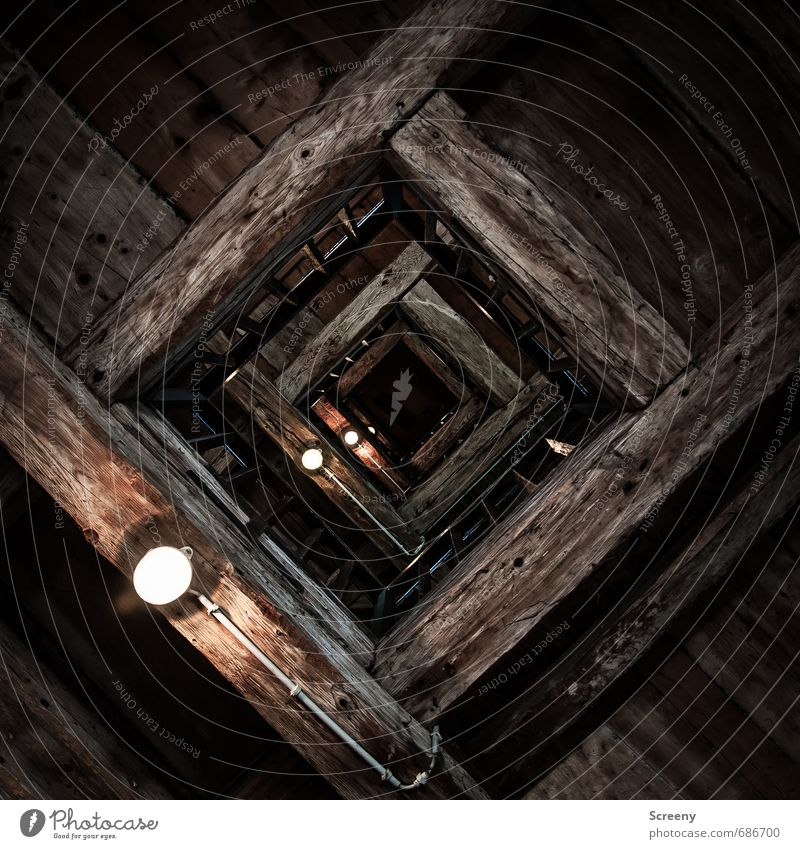 Looking up... Tower Manmade structures Building Story Banister Wood Sharp-edged Brown Height Fear of heights Lamp Joist Colour photo Interior shot Deserted Day