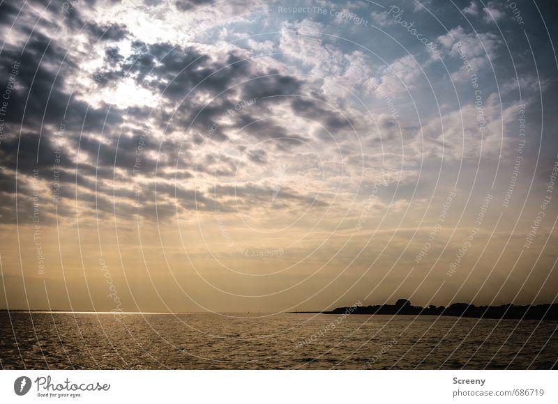 Sky Nature Vacation & Travel Blue Water Summer Sun Ocean Landscape Calm Clouds Black Moody Horizon Orange Waves