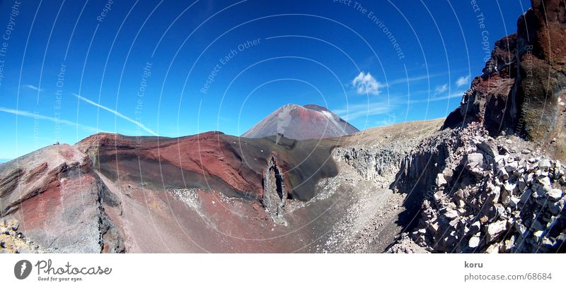 red crater Volcanic crater New Zealand Red Panorama (View) Volcano ridges Rock Deep Large Panorama (Format)