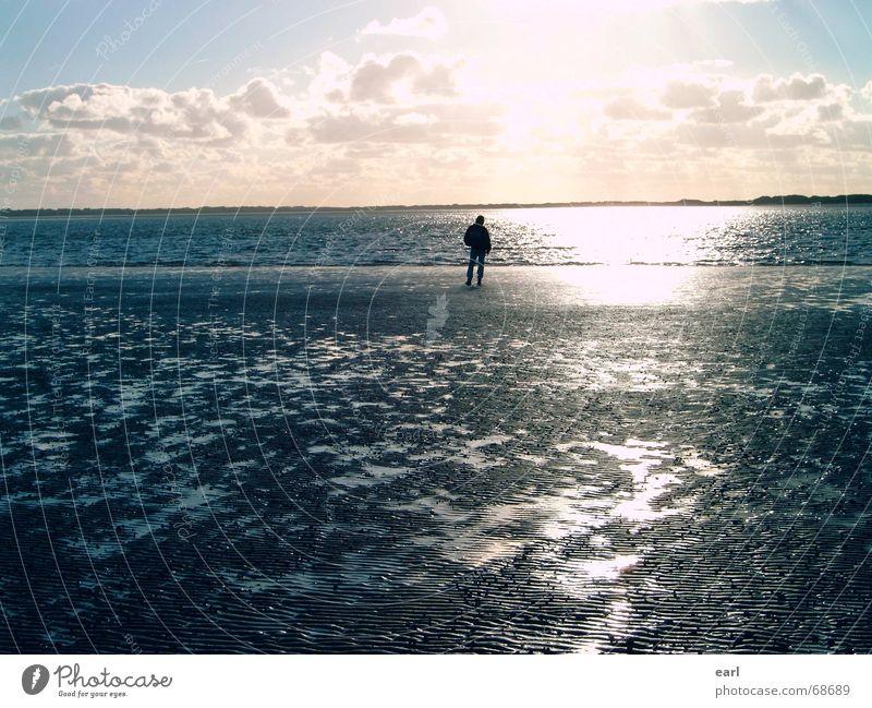 Man Water Sky Sun Ocean Blue Vacation & Travel Calm Clouds Far-off places Relaxation Autumn Wind Horizon Island Mirror