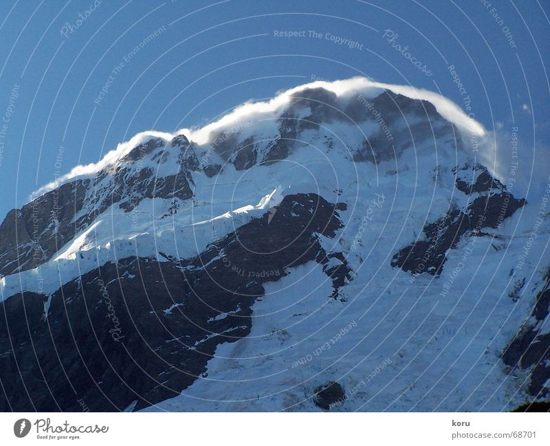 Cold Snow Mountain Wind Rock Peak New Zealand Sanddrift