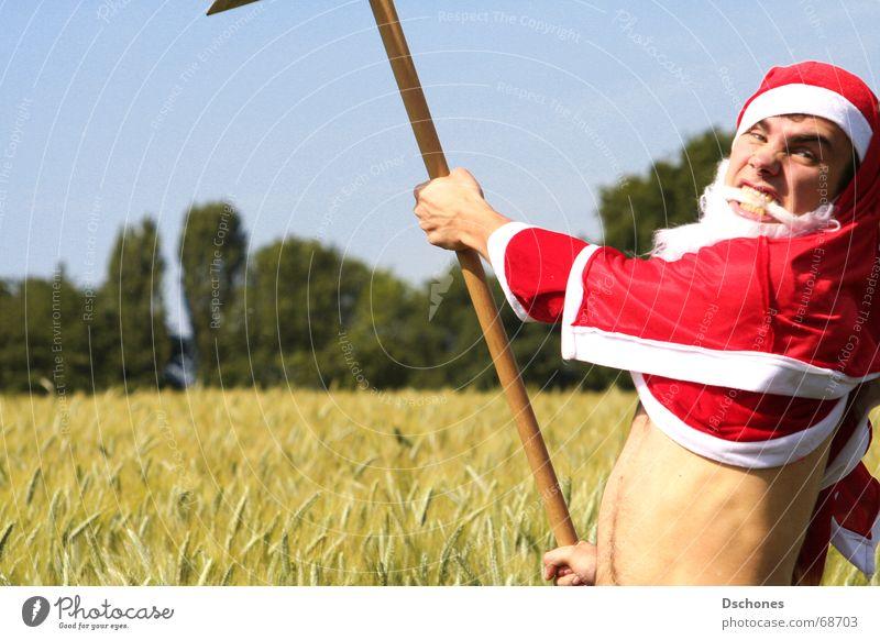 KLAUS BREAKS DOWN Santa Claus The Grim Reaper Scythe Cornfield Anger Aggression Funny Funster Joke Working in the fields Seasonal work Seasonal worker