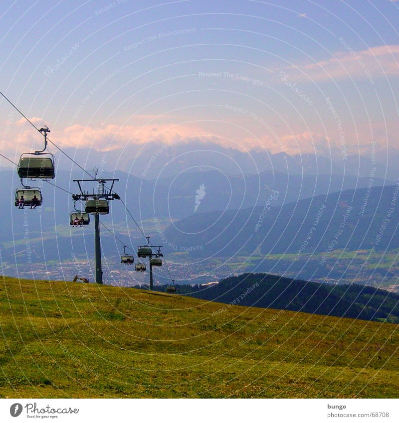 noctis umbrae Vacation & Travel Hill Mountain range Peak Meadow Green Austria Clouds Chair lift Cable car Calm Beautiful Relaxation Far-off places Perspective