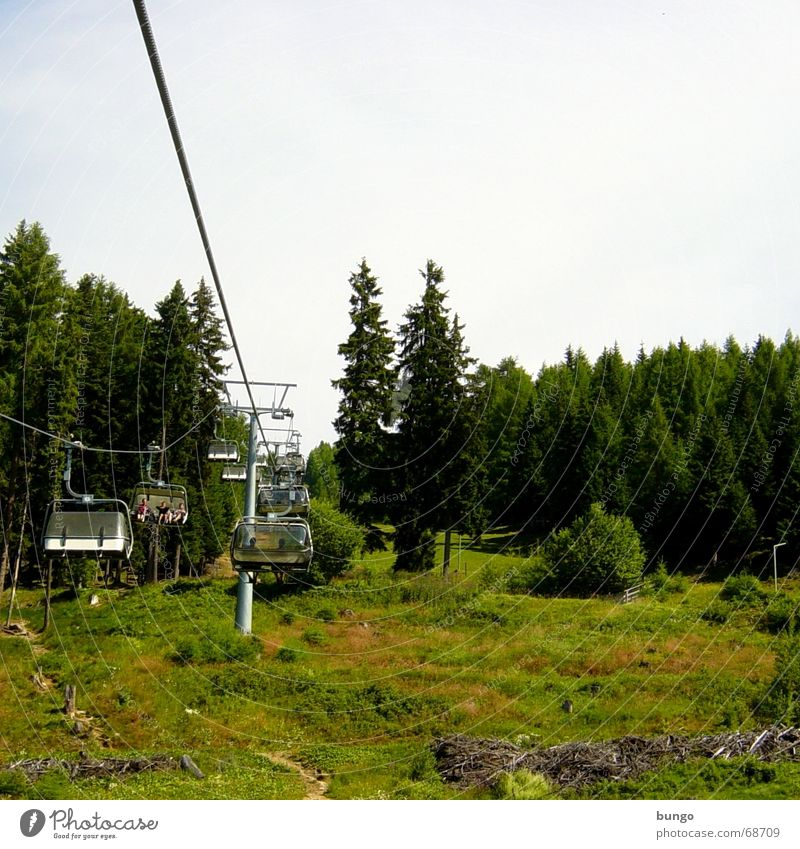 florum aura Vacation & Travel Hill Meadow Green Tree Spruce Austria Cable car Chair lift Nature Beautiful Calm Relaxation Mountain Perspective Free