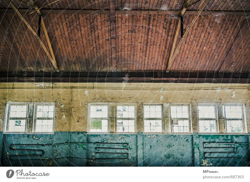 the decay II Window Warehouse Hall Old Wooden ceiling Interior shot Interior design Contrast Joist Roof beams Heating pipe Deserted Old building Redecorate