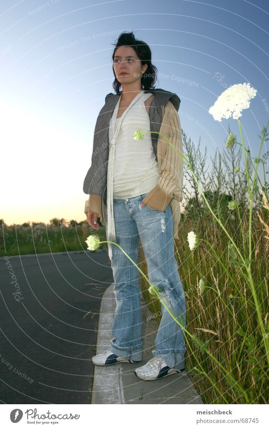 flowers in the foreground Woman Flower Meadow Jacket Style Sunset Street scrawny
