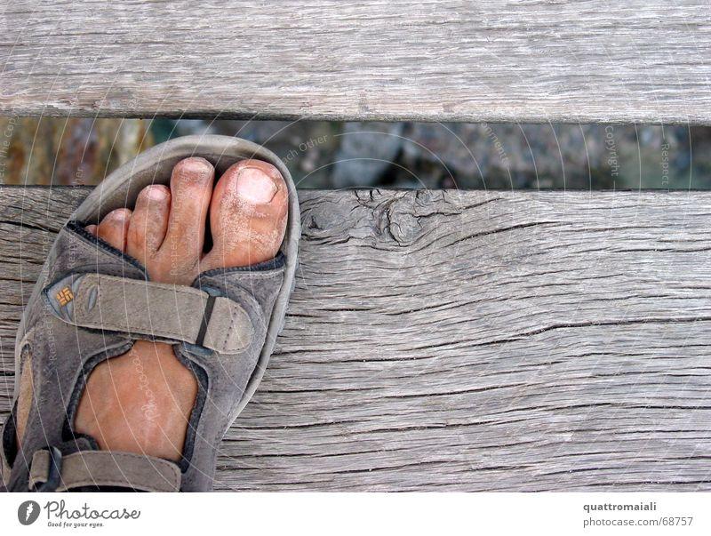 Footwear Dirty Hiking Bridge Wooden board Dust Sandal Wooden bridge