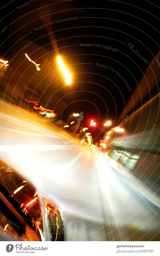 Crazy speed forward Vehicle Petrol station Night Town Long exposure Stern Fender Black Reflection Driving Vanishing point Light Car alfa romeo Street Dynamics