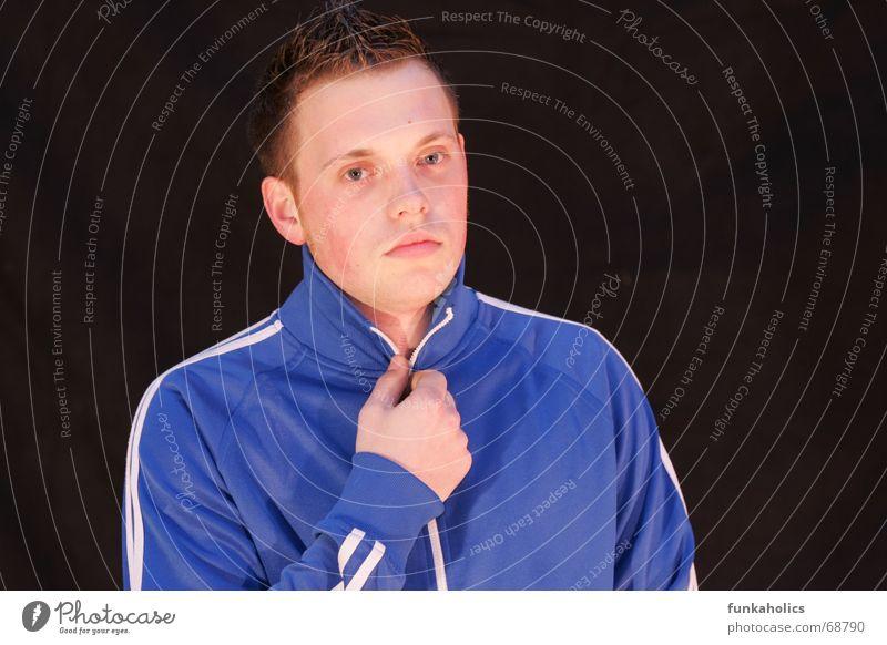 cool training Cold Portrait photograph Zipper tracksuit Blue Cool (slang) Pallid Track-suit top