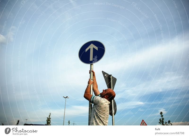 Man Sky Above Movement Signs and labeling Action Climbing Arrow Pull