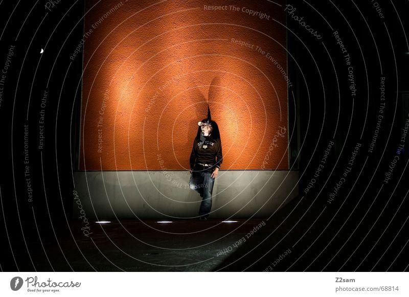 nocturnal meditation Man Light Stand Stage lighting Long exposure Posture Think contemplative Orange night portraits