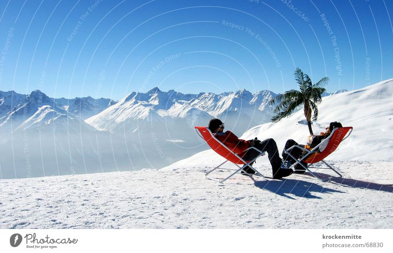 Vacation & Travel Winter Calm Relaxation Snow To talk Mountain Friendship Leisure and hobbies Break Tracks Switzerland Palm tree Winter sports Deckchair Stay