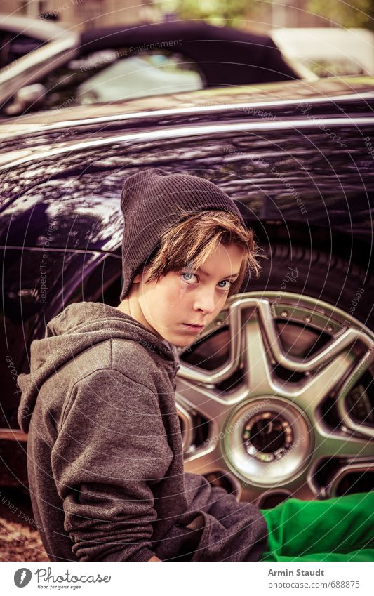 Portrait of a teenager in front of an expensive car portrait luxury Youth (Young adults) Lifestyle Style Design Human being Masculine 1 8 - 13 years Child