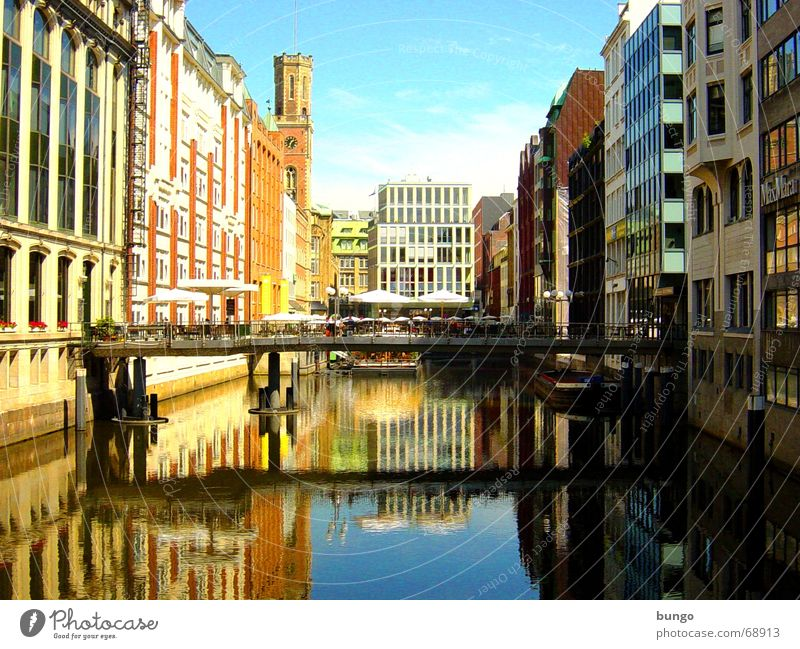 pons primus Building Symmetry Facade Multicoloured Window Reflection Water reflection Concrete Brick Narrow Build on Calm Beautiful Town City life Sunshade