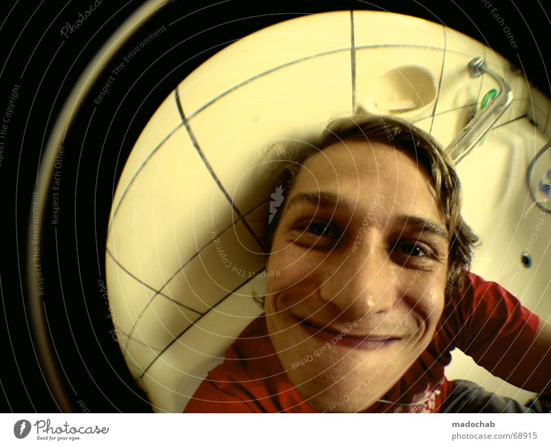 Human being Man Youth (Young adults) Joy Face Laughter Funny Masculine Crazy Bathroom Bathtub Stupid Grinning Fisheye Guy Portrait photograph