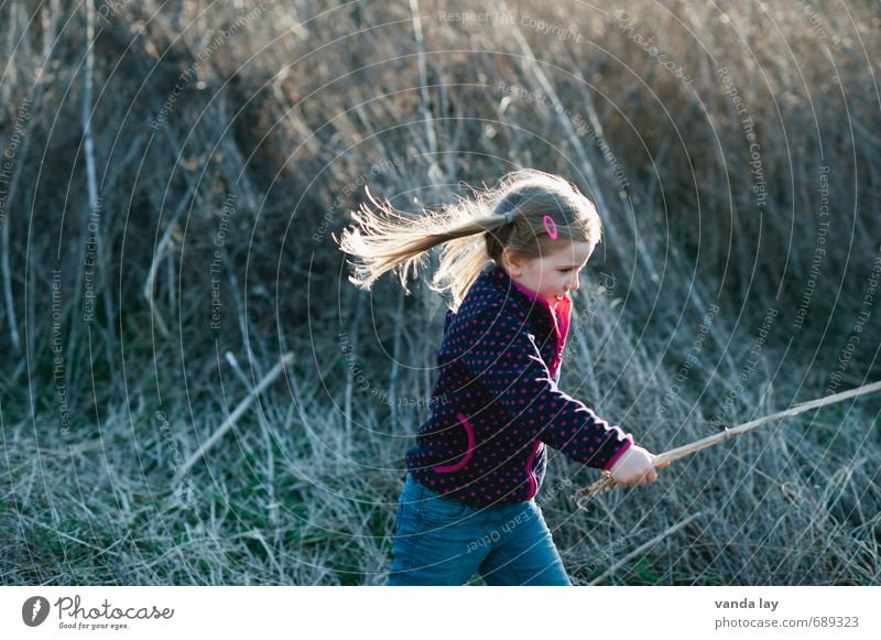 Human being Child Nature Plant Girl Life Meadow Playing Blonde Infancy Point Running Hunting Long-haired Autumnal Fight