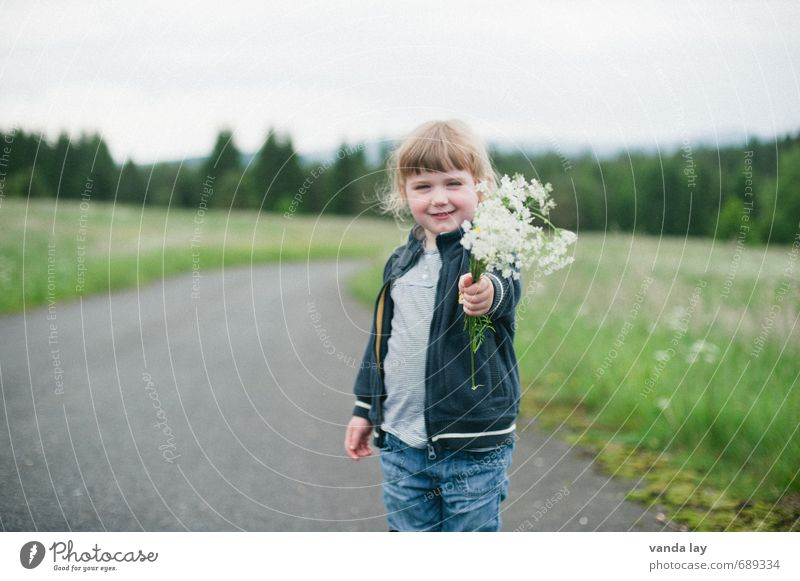 Human being Child Nature Plant Girl Forest Meadow Blossom Spring Field Infancy Birthday Gift Herbs and spices Bouquet Indicate