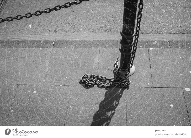 """in chains Town Downtown Industrial plant Places Train station Airport Gate Manmade structures Terrace """"Chain Pole off Kerbstone"""" Gloomy Barred Barrier Bans"""