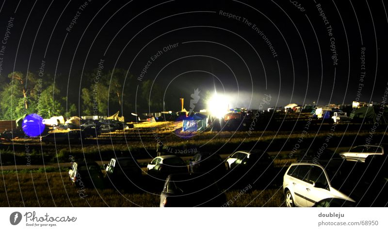 Sky Tree Dark Car Concert Parking lot Floodlight Tent Music festival Camping site