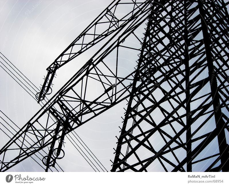 Free line Electricity pylon High-power current Iron Carrier Power transmission Energy industry ohm overvoltage Sky Blue