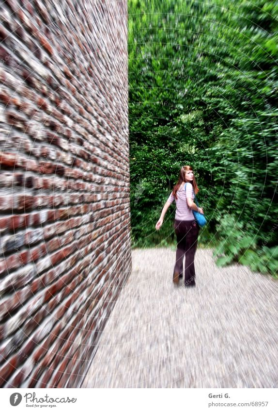 Woman Wall (barrier) Lanes & trails Fear Walking Bushes Rotate Escape Young woman Pursue