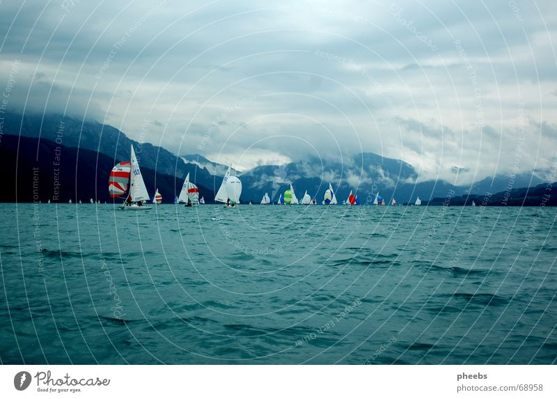 stormy summer Regatta Lake Attersee Sailing Watercraft Gale Clouds Dragon Championship Sky