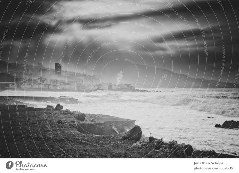 Nature City Water Ocean Beach Dark Environment Coast Waves High-rise Esthetic Island Threat Skyline Gale Surf