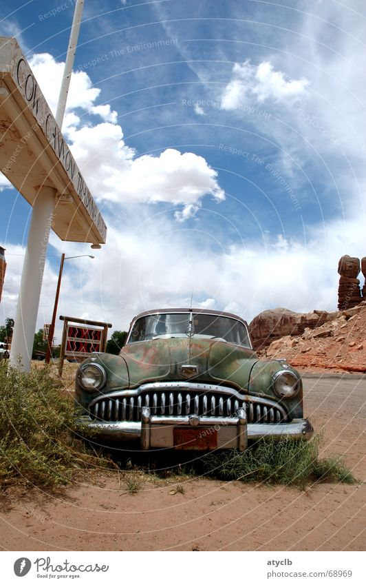 Old Clouds Loneliness Sand Car Broken USA Desert Derelict Historic Rust Decline Americas Still Life Vintage Weathered