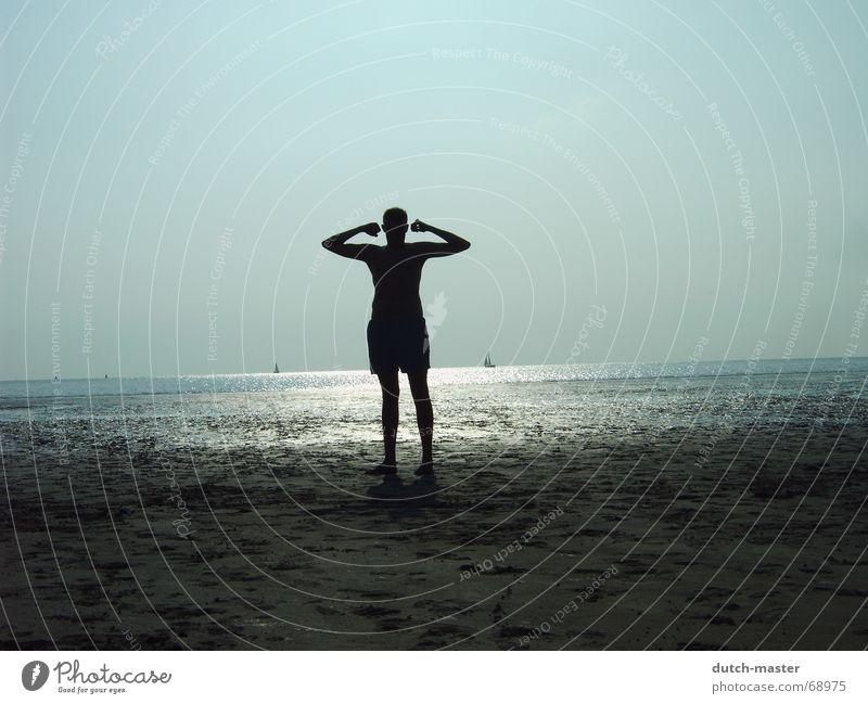 hero Beach Netherlands Sailboat Hero Summer Slick Man Light Dark Ocean Vacation & Travel Sun Posture Musculature Sand Shadow Bright Water Mud flats Perspective