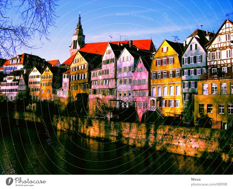 Tübingen on the river Neckar Town House (Residential Structure) Multicoloured Beautiful Wall (barrier) Flow Electricity Facade Window Roof Red Green Yellow