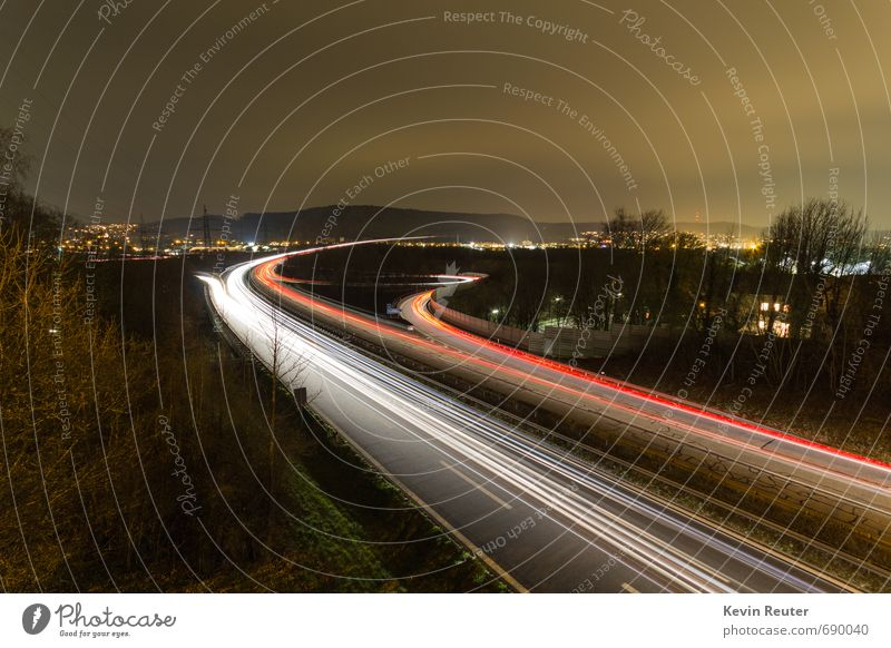 motorway at night Germany Town Populated House (Residential Structure) Bridge Rush hour Road traffic Motoring Highway Car Truck Observe Movement Driving