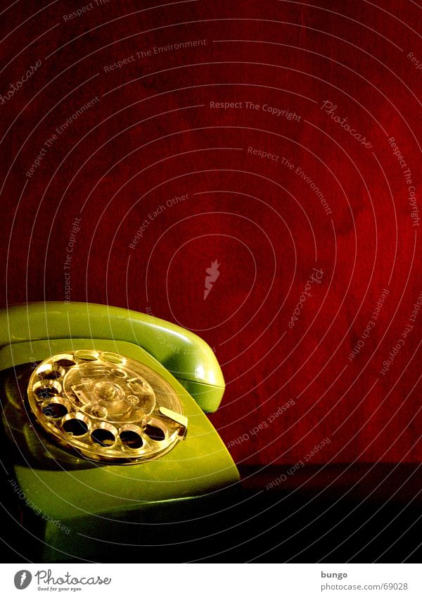 sine laboratories Telephone Nostalgia Rotary dial Outer ear Listening Lie Analog Green Red Wallpaper Calm Style Converse Past Remember Memory Grief Communicate