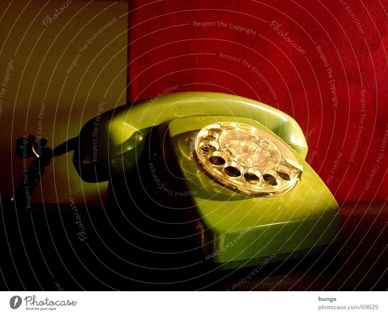 factum quiete Telephone Nostalgia Rotary dial Outer ear Listening Lie Analog Green Red Wallpaper Calm Style Converse Past Remember Memory Grief Communicate