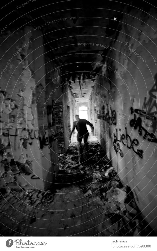 cursed Hallway House (Residential Structure) Ruin Wall (barrier) Wall (building) Stairs Window Graffiti Walking Running Dark Creepy Gloomy Gray Longing