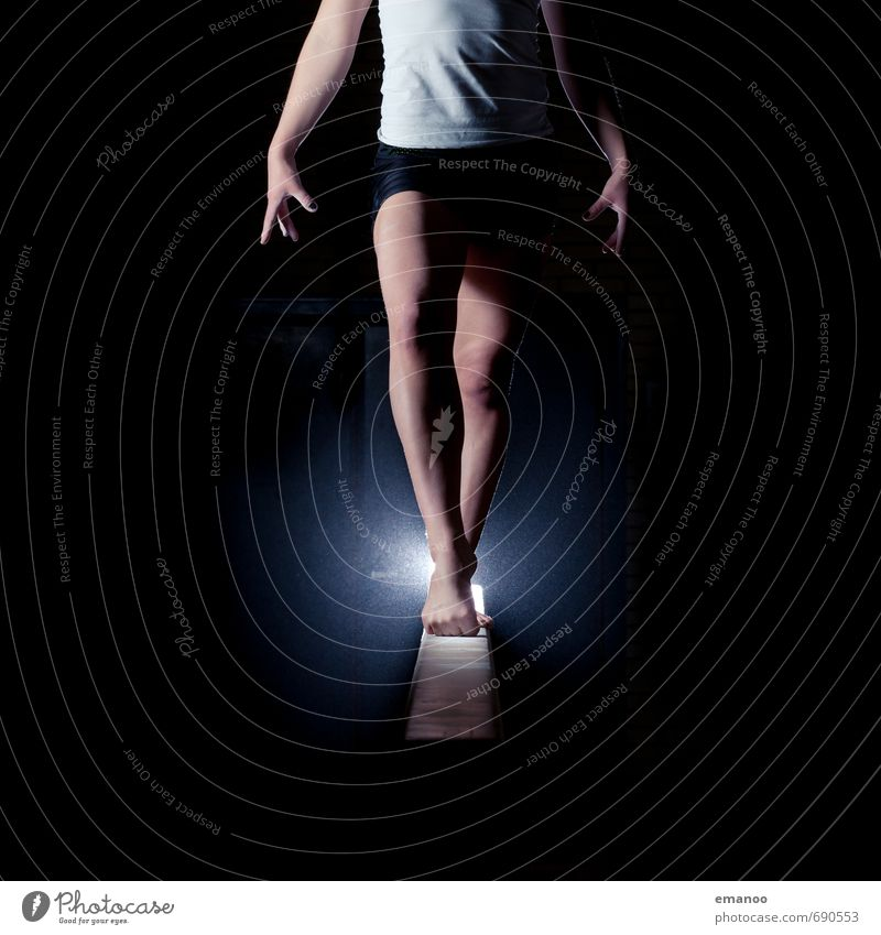 Human being Youth (Young adults) Young woman Joy Dark Feminine Sports Style Legs Feet Body Power Stand Dance Esthetic Fitness