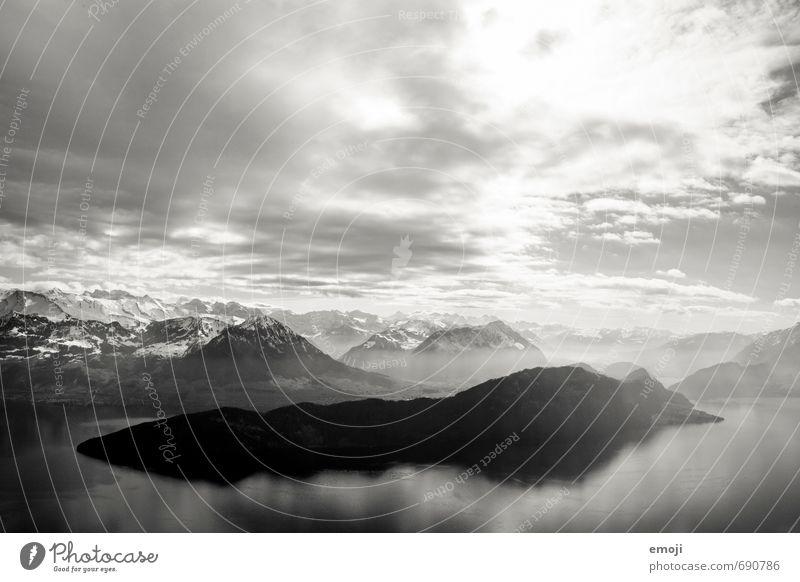 deep Environment Nature Landscape Sky Climate Alps Mountain Peak Snowcapped peak Lake Exceptional Threat Dark Switzerland Lake Lucerne Black & white photo