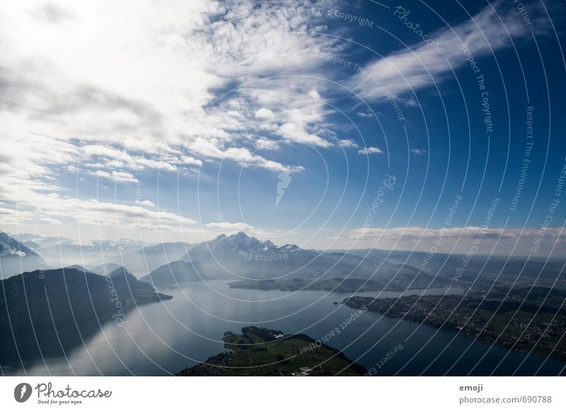 deep Environment Nature Elements Earth Air Water Sky Beautiful weather Alps Mountain Lake Natural Blue Rigi Switzerland Lake Lucerne Tourism Vacation & Travel