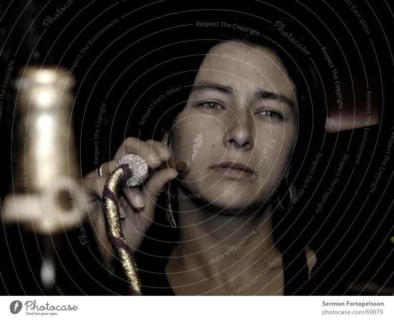 Nina & Shisha Portrait photograph Night Waterpipe Woman Tobacco Hookah ghalyun huka Bottle Face Smoking Apple