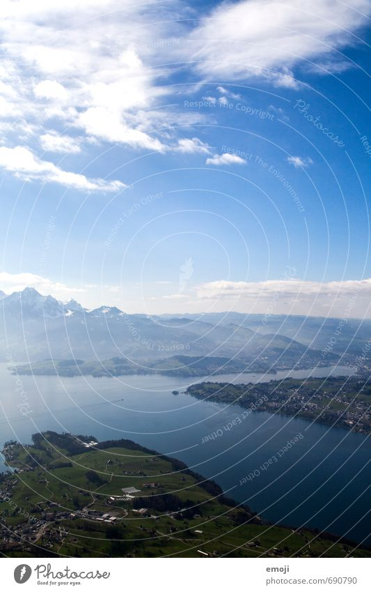 Lake Lucerne Environment Nature Landscape Sky Beautiful weather Alps Mountain Natural Blue Green Switzerland Colour photo Exterior shot Deserted Day