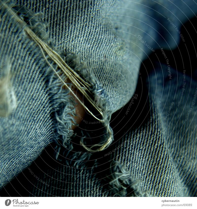 Old Blue Jeans Pants Crack & Rip & Tear Loyalty Knee Washed out Worn out