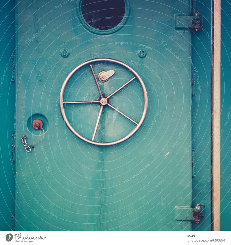 Blue Cold Wall (building) Watercraft Metal Door Dangerous Closed Simple Protection Round Safety Navigation Wheel Graphic Steel