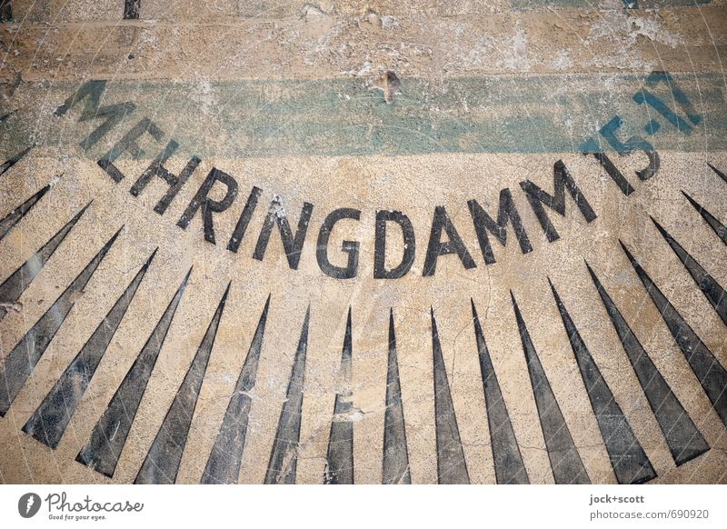 Mehringdamm Typography Advertising Kreuzberg Wall (barrier) Wall (building) Digits and numbers Stripe Triangle Capital letter Street art Authentic Historic