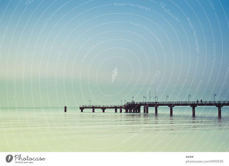 Longing has a color Calm Vacation & Travel Environment Nature Landscape Air Water Sky Horizon Climate Weather Coast Baltic Sea Ocean Bridge Lanes & trails