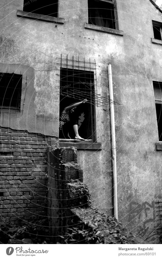 the window to freedom Ruin Grating Window Gray House (Residential Structure) Woman Brick Black & white photo Climbing Stairs