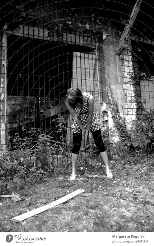 Before the rubble Grating Ruin Woman Stoop Dress Legs Black & white photo
