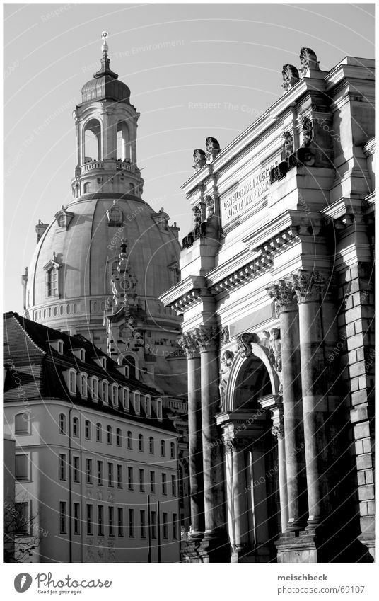 Dresden City Building House (Residential Structure) Archway Frauenkirche black and white Bell tower Old town